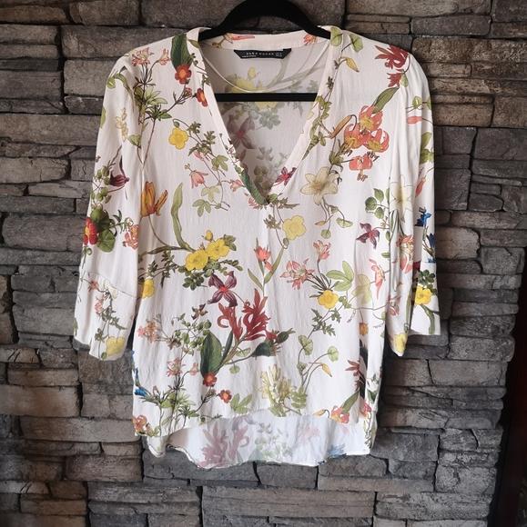 Zara Sheer Flowered Blouse